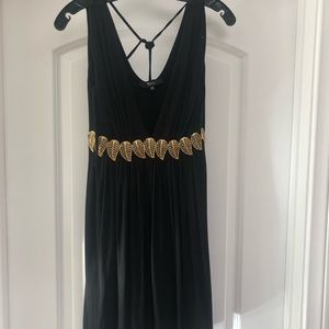 Sky Dress with Gold Leafs
